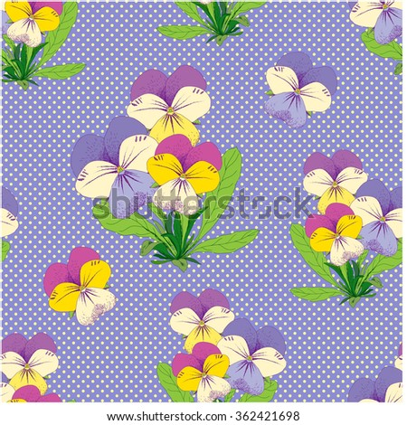 Floral seamless pattern with beautiful Pansy. Hand drawn vector illustration for design of fabric, print, wrapping and other. - stock vector