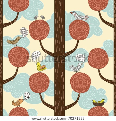 floral seamless pattern with birds - stock vector