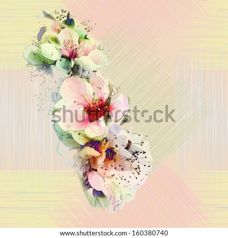 Floral seamless pattern with bright spring flowers on grunge striped background in pastel colors - stock vector