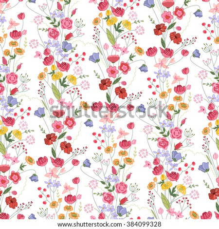 Floral seamless pattern with bright summer flowers. Endless texture for romantic  design, decoration,  greeting cards, posters,  invitations, advertisement. - stock vector