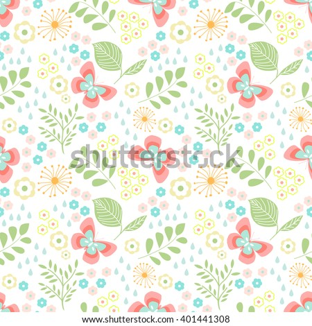 Floral seamless pattern with butterflies, leaves   - stock vector