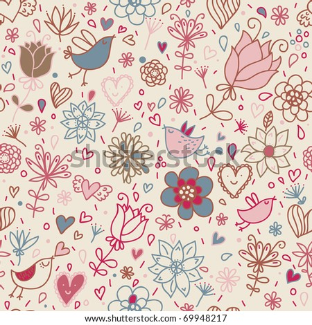Floral seamless pattern with cartoon birds - stock vector