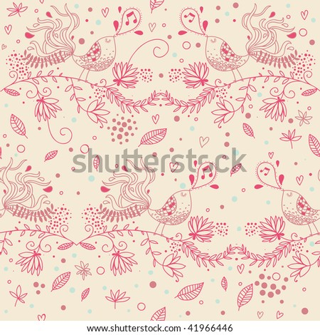 Floral seamless pattern with cartoon singing birds in pink colors