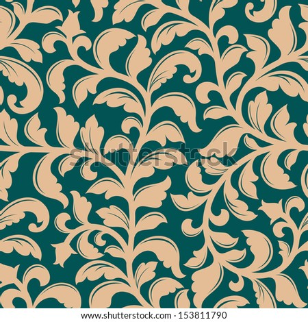 Floral seamless pattern with decorative plants nd flowers. Jpeg version also available in gallery - stock vector