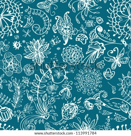 Floral seamless pattern with doodle flowers, illustration, vector