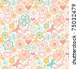 Floral seamless pattern with flowers and butterflies. Endless floral texture for textile. - stock vector