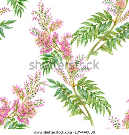 Floral seamless pattern with flowers and leaves on white background vector - stock vector