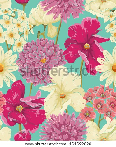 Floral seamless pattern with flowers in watercolor style - stock vector