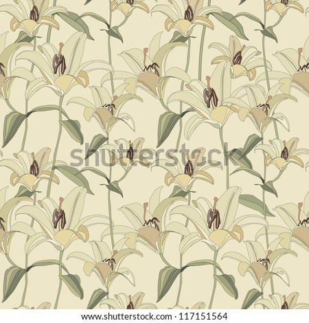 floral seamless pattern with  gentle flowers lily - stock vector