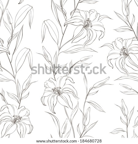 Floral seamless pattern with gentle lily flowers. Vector illustration. - stock vector