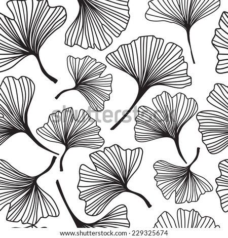 Floral seamless pattern with ginkgo leaves.Vector illustration. - stock vector