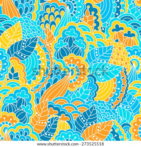 Floral seamless pattern with hand drawn elements. Colorful background. Pattern can be used for fabric, wallpaper or wrapping.