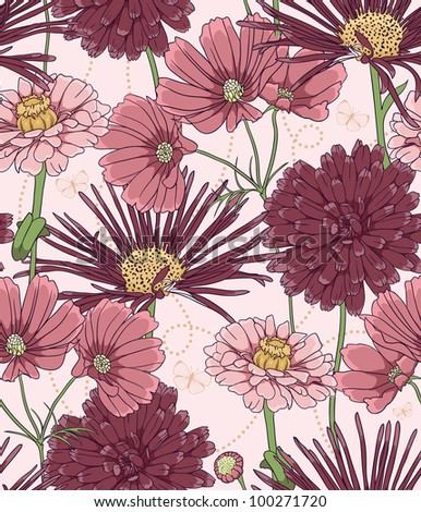 Floral seamless pattern with hand drawn flowers. - stock vector