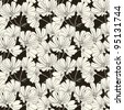 Floral seamless pattern with hand drawn flowers. Black and white - stock vector
