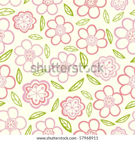 Floral seamless pattern with leaf.
