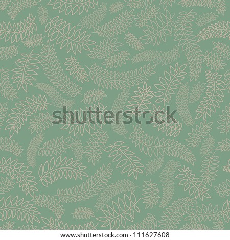 floral seamless pattern with leaves on green background - stock vector