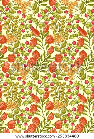 Floral seamless pattern with lot of small flowers, berries and leaves. - stock vector