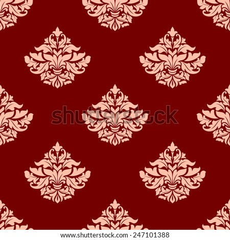 Floral seamless pattern with lush pink composition of elegant leaves scrolls and little lily buds on red background - stock vector