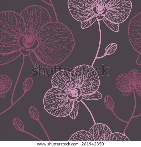 Floral seamless pattern with orchids - stock vector