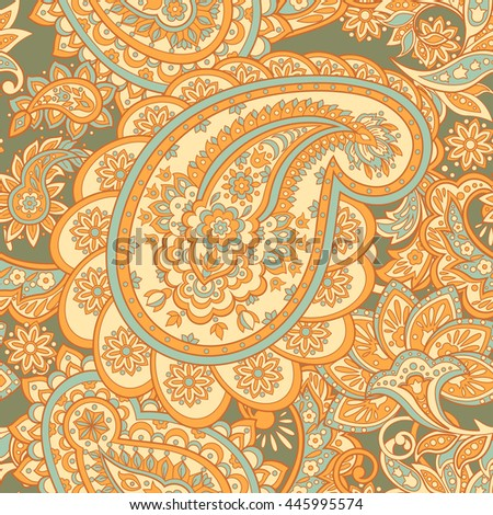 Floral seamless pattern with paisley ornament. Vector illustration in Asian textile style