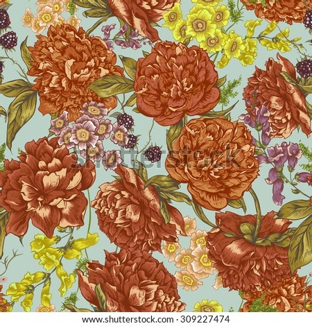 Floral Seamless Pattern with Peonies. - stock vector