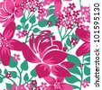 Floral seamless pattern with pink flowers - stock vector