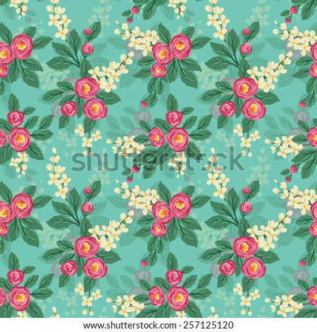 Floral seamless pattern with pink roses and small white flowers - stock vector