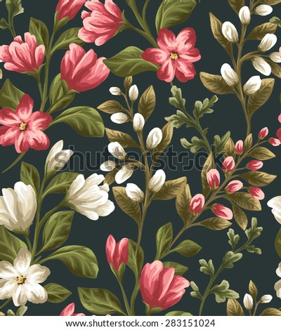 Floral seamless pattern with shite and red flowers on dark background in watercolor style - stock vector