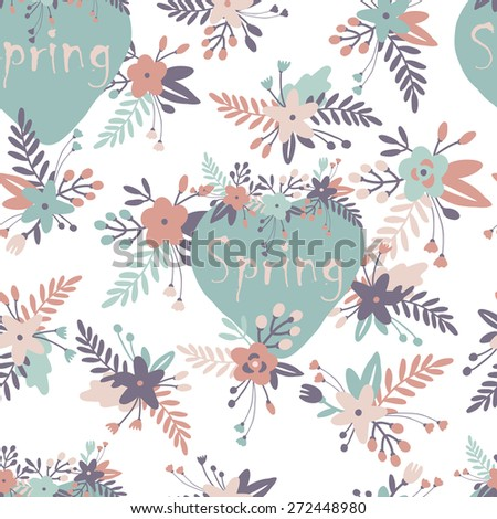 Floral seamless pattern with spring bouquets. - stock vector