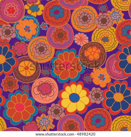 Floral seamless pattern with stylized bright flowers