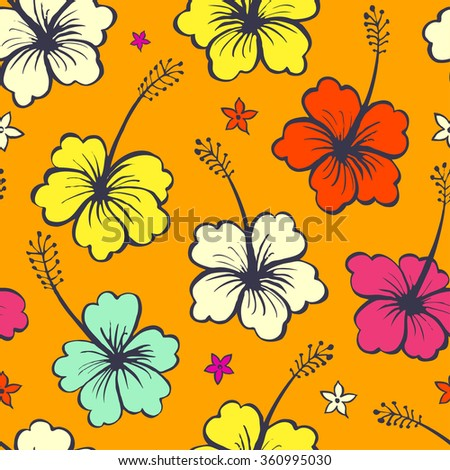 Floral seamless pattern with tropical flowers