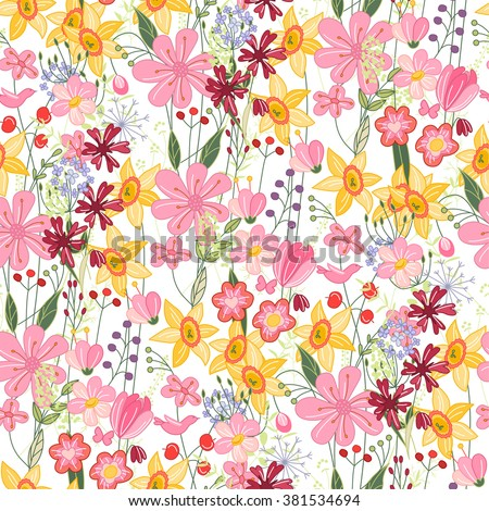 Floral seamless pattern with tulips and daffodils. Endless texture for romantic  design, decoration,  greeting cards, posters,  invitations, advertisement. - stock vector