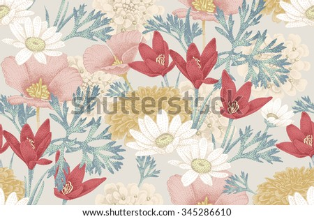 Floral seamless pattern with wild flowers. Vector background. Illustration in vintage style for decoration fabrics, textiles, paper, wallpaper. - stock vector