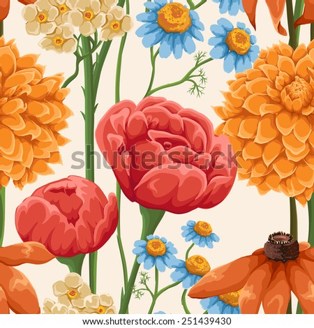 Floral seamless patterns with roses, chamomile and other flowers - stock vector