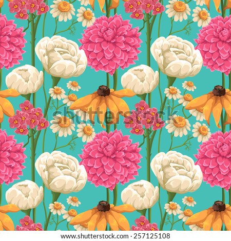 Floral seamless patterns with roses, chamomiles and other flowers - stock vector