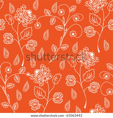 Floral seamless red ornate pattern - stock vector
