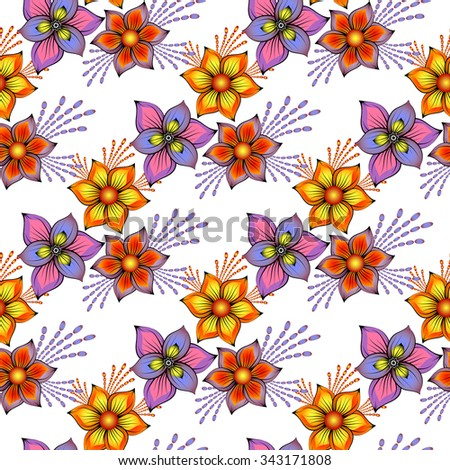 Floral seamless spring pattern with vintage colorful flowers, vector EPS 10 - stock vector