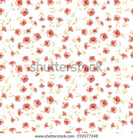 Floral seamless tilefor textile fabric. Vector illustration.