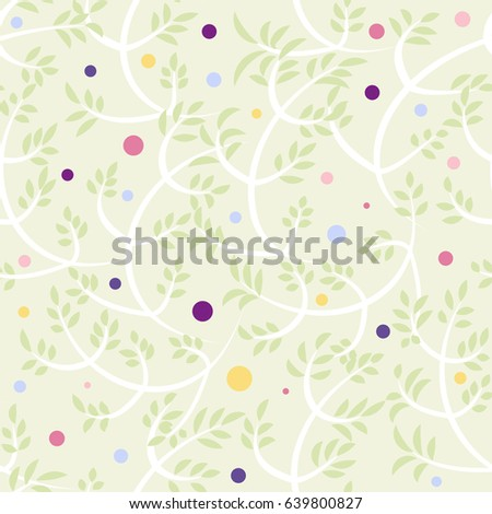 Floral seamless vector background with branches, leafs and berries