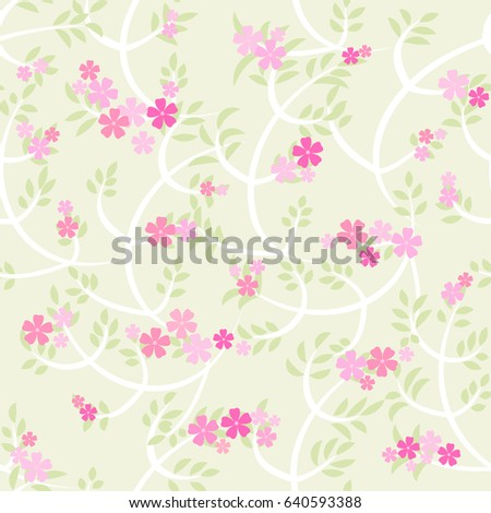 Floral seamless vector background with branches, leafs and flowers