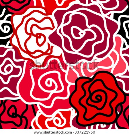 Floral seamless vector pattern. Colorful retro roses with bold contours. Art Nouveau style vintage textile collection. Bright red, white and black. Backgrounds & textures shop. - stock vector