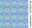 Floral seamless vector pattern with bold ornamental stylized Indian motifs and small pink flowers. Texture background for web, print, home decor, textile, wrapping paper in organic green blue colors. - stock photo