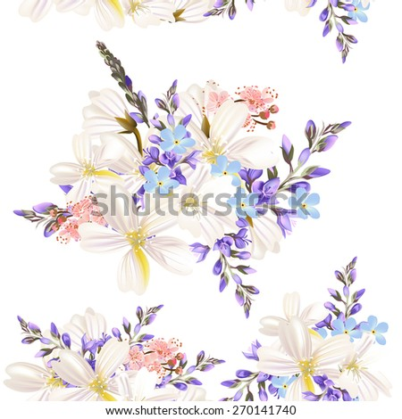 Floral seamless vector pattern with flowers in watercolor style - stock vector