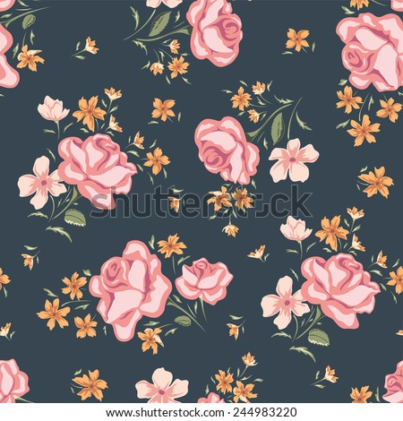 Floral seamless vintage pattern. Rose background. Shabby chic. - stock vector