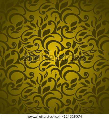 Floral seamless wallpaper, elegant abstract design, golden - stock vector