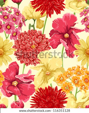 Floral seamless wallpaper in watercolor style - stock vector