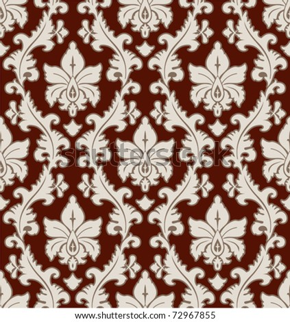 floral seamless wallpaper ornament in brown
