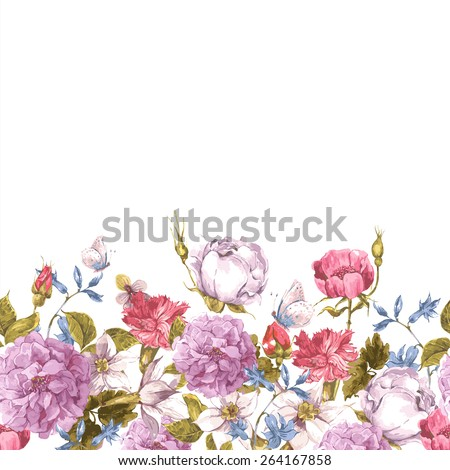 Floral Seamless Watercolor Border with Roses, butterfly and Wildflowers in Vintage Style, Watercolor Vector Illustration. - stock vector