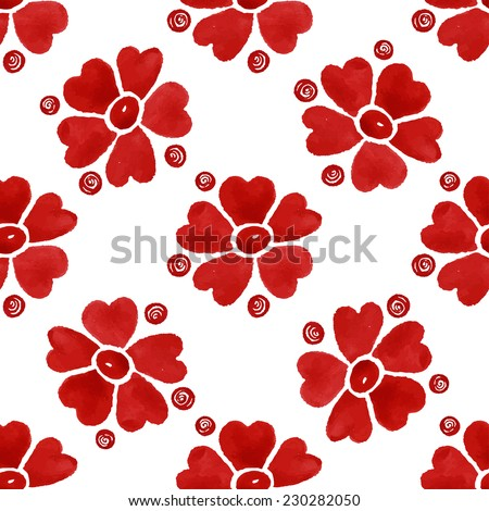 Floral seamless watercolor pattern, bright red flowers and circles on a white background - stock vector