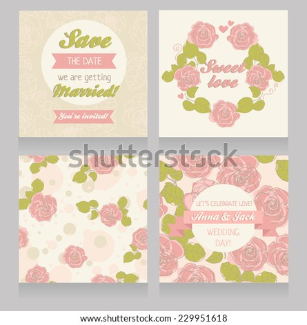 floral set for wedding decoration: seamless patterns and invitation cards, vector illustration - stock vector